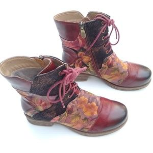 Corky's Elite • patchwork leather lace-up boots